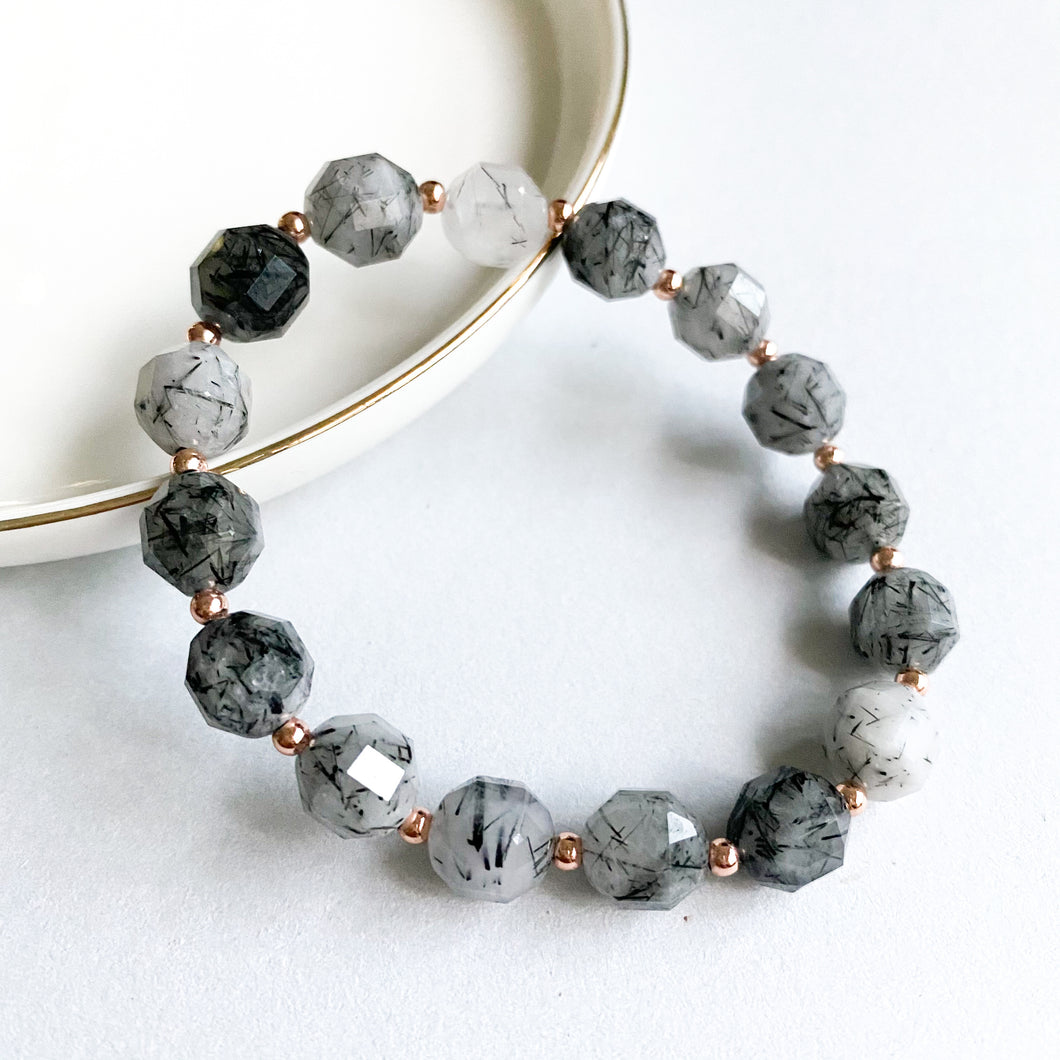 Black Rutilated Quartz Geometric Bracelet