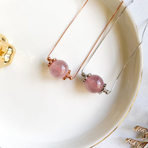 Lavender Rose Quartz Solitaire Necklace