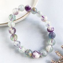 Load image into Gallery viewer, Scolecite Angel Wing Fluorite 9.5mm Bracelet