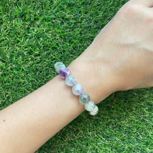 Scolecite Angel Wing Fluorite 9.5mm Bracelet