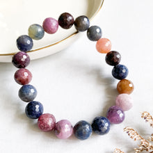 Load image into Gallery viewer, Multi-Colour Ruby and Sapphire 9mm Faceted Bracelet