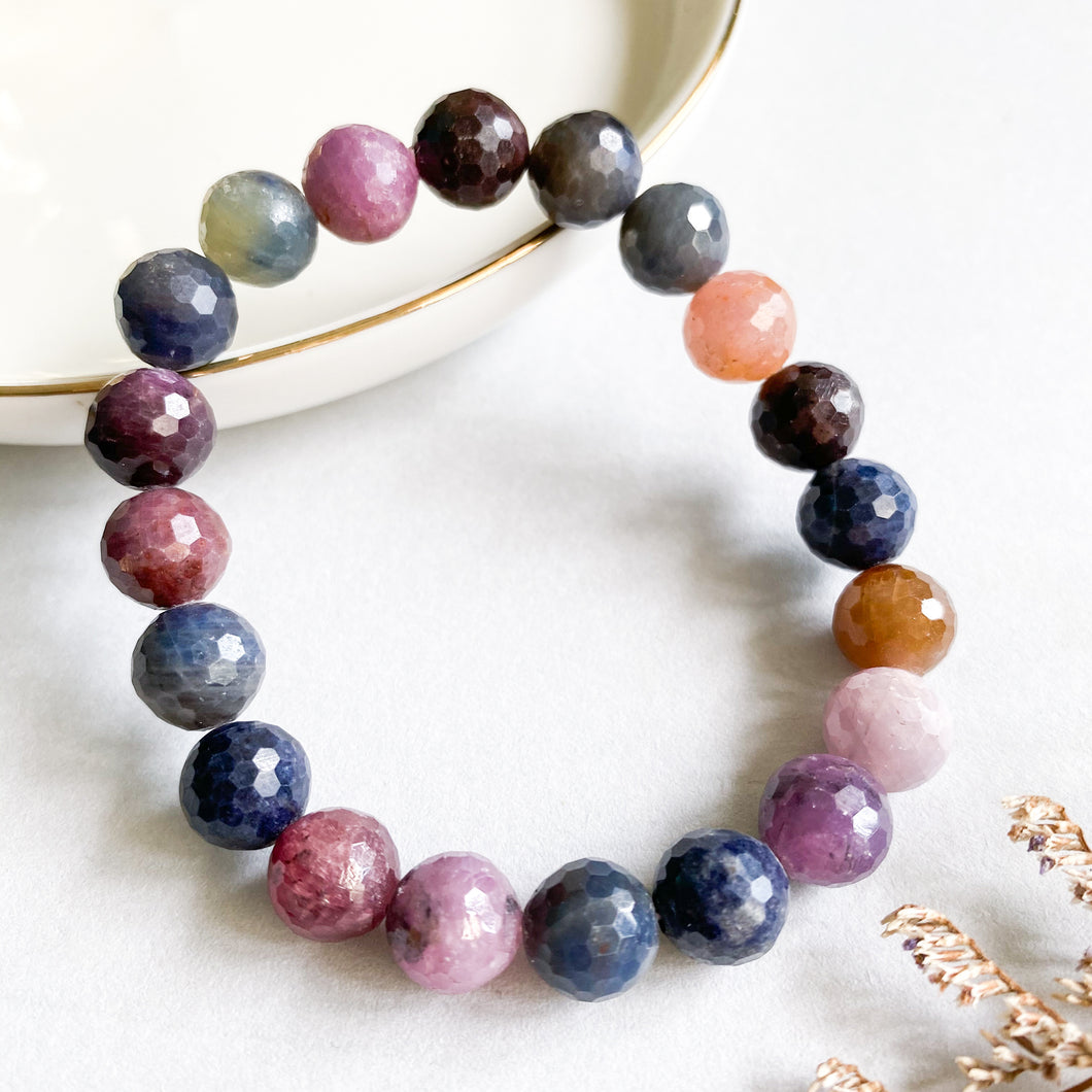 Multi-Colour Ruby and Sapphire 9mm Faceted Bracelet