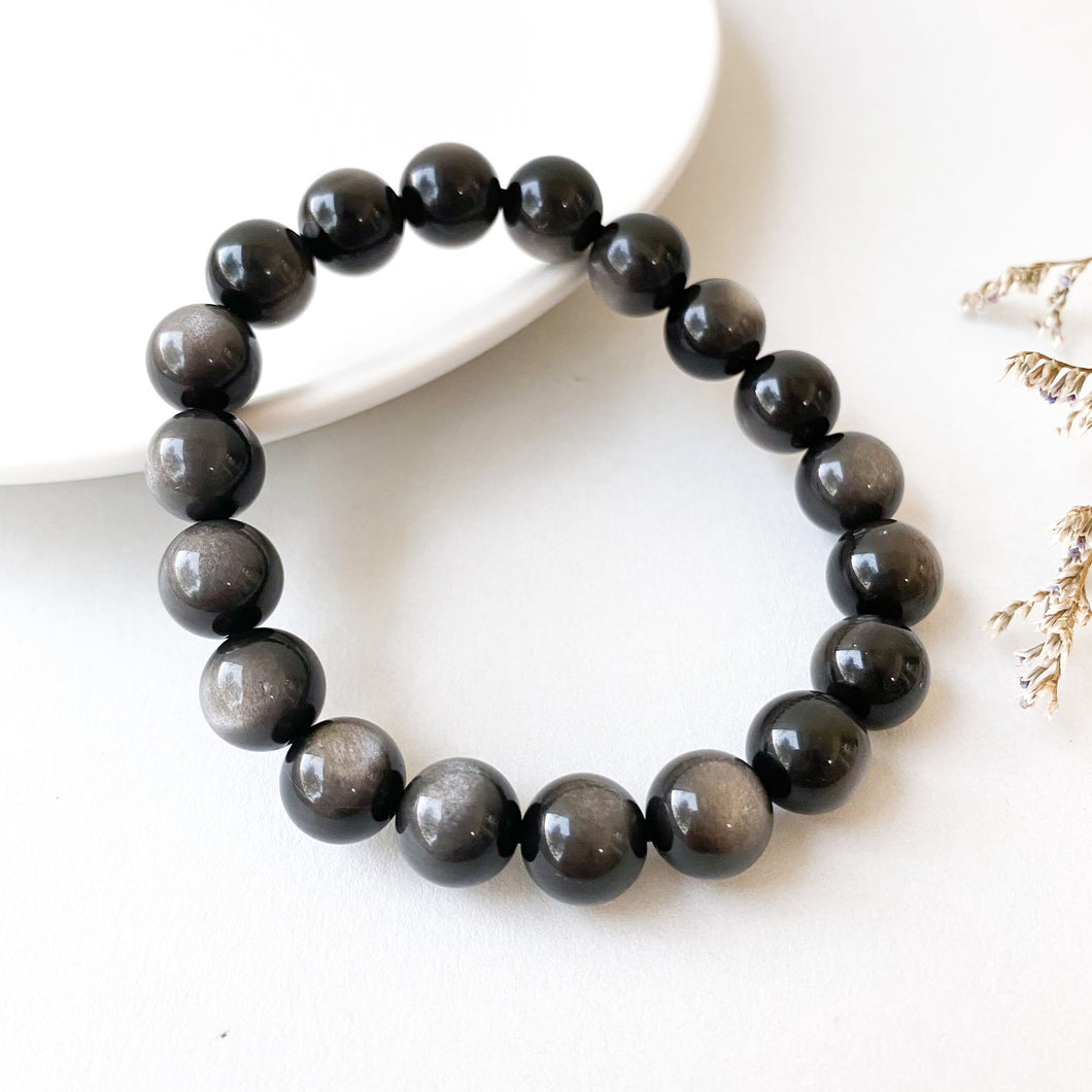 Silver Sheen Obsidian 10mm Bracelet