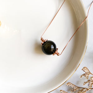 Gold Sheen Obsidian Solitaire Necklace
