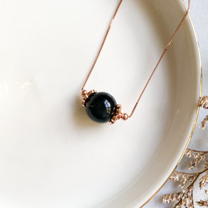 Blue Tiger's Eye Solitaire Necklace
