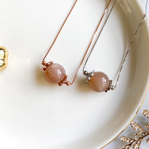 Peach Moonstone Solitaire Necklace