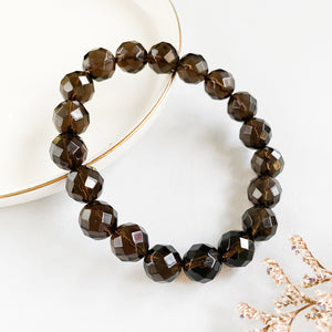 Smoky Quartz 10mm Faceted Bracelet