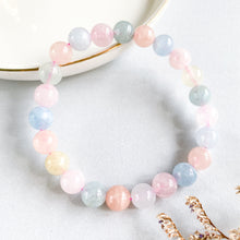 Load image into Gallery viewer, Morganite and Aquamarine 8mm Bracelet