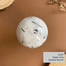 Load image into Gallery viewer, Black Tourmalinated Quartz Sphere