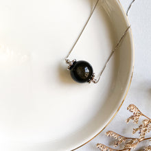 Load image into Gallery viewer, Gold Sheen Obsidian Solitaire Necklace