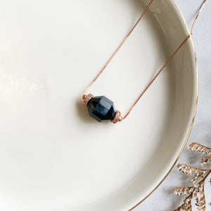 Blue Tiger's Eye Geometric Necklace