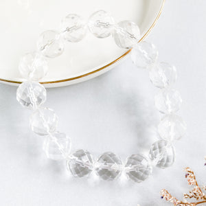 Clear Quartz 12mm Faceted Bracelet