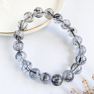 Black Rutilated Quartz 10mm Bracelet