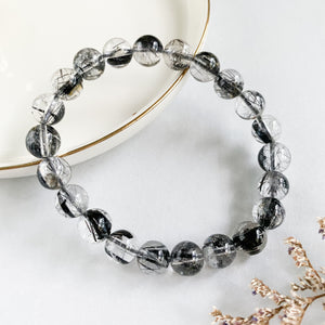 Black Rutilated Quartz 8mm Bracelet