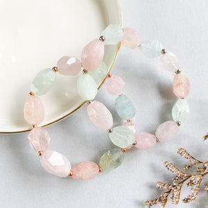 Morganite and Aquamarine Asymmetric Bracelet