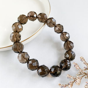Smoky Quartz 12mm Faceted Bracelet