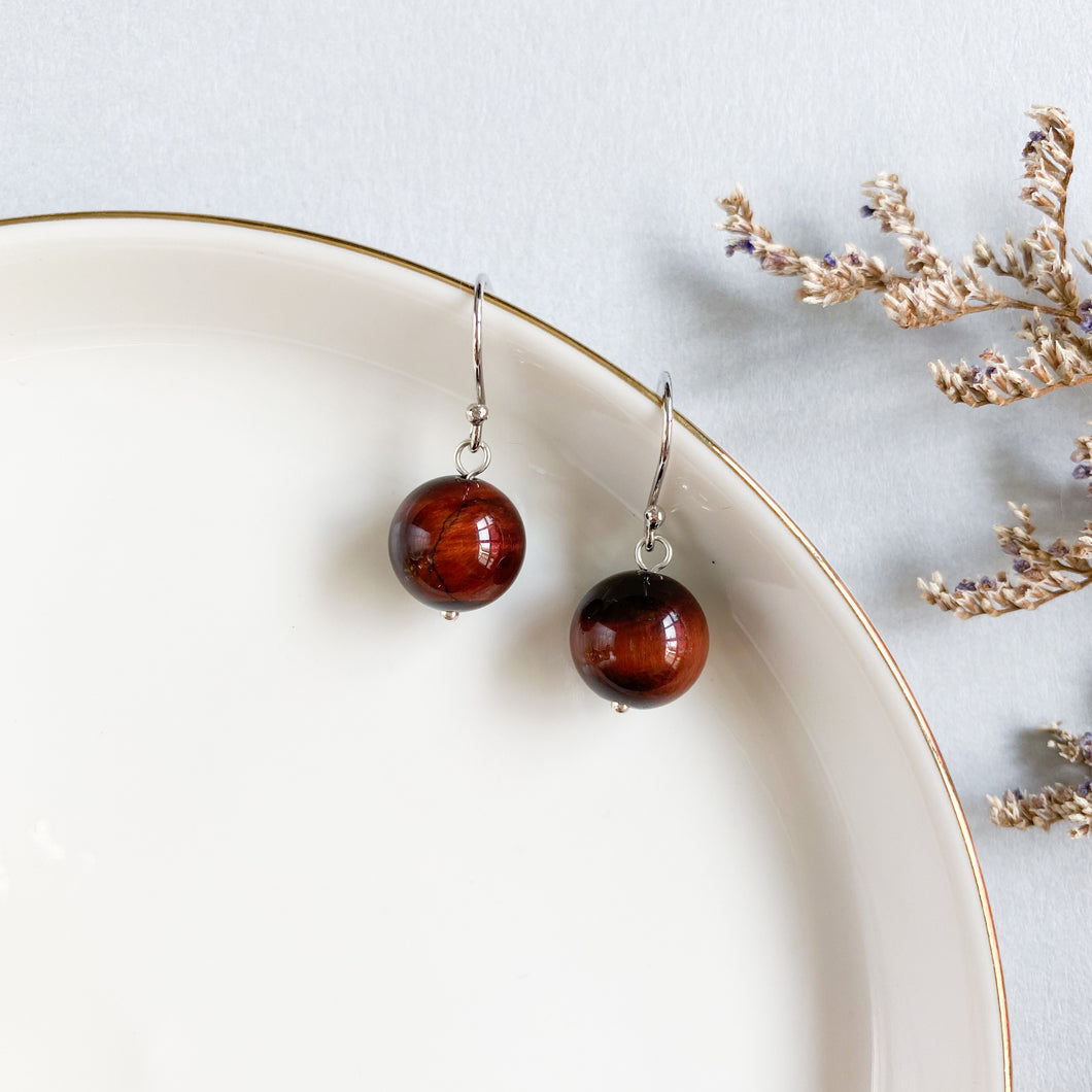 Red Tiger's Eye Drop Earrings