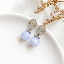 Load image into Gallery viewer, Blue Lace Agate Flora Earrings