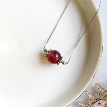 Load image into Gallery viewer, Strawberry Quartz Solitaire Necklace
