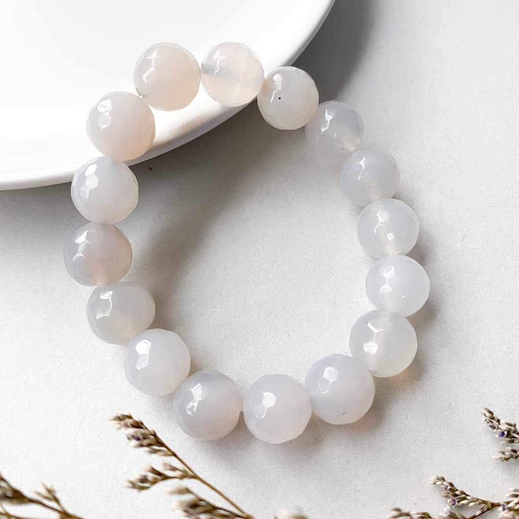 White Agate 12mm Faceted Bracelet