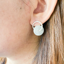 Load image into Gallery viewer, Grade A Icy White Jade Donut Studs - Silver