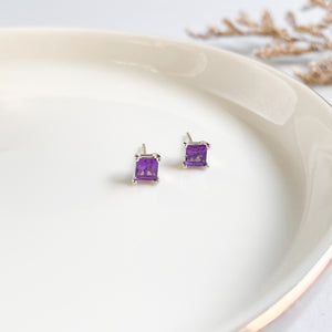 Amethyst Square Studs