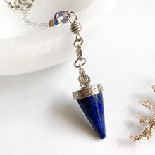 Load image into Gallery viewer, Lapis Lazuli with 7 Chakra Pendulum