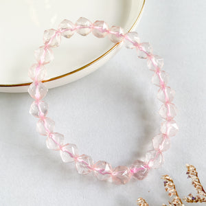 Rose Quartz 8mm Faceted Bracelet
