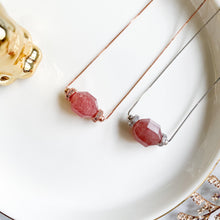 Load image into Gallery viewer, Strawberry Quartz Geometric Necklace