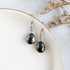 Hematite Faceted Earrings