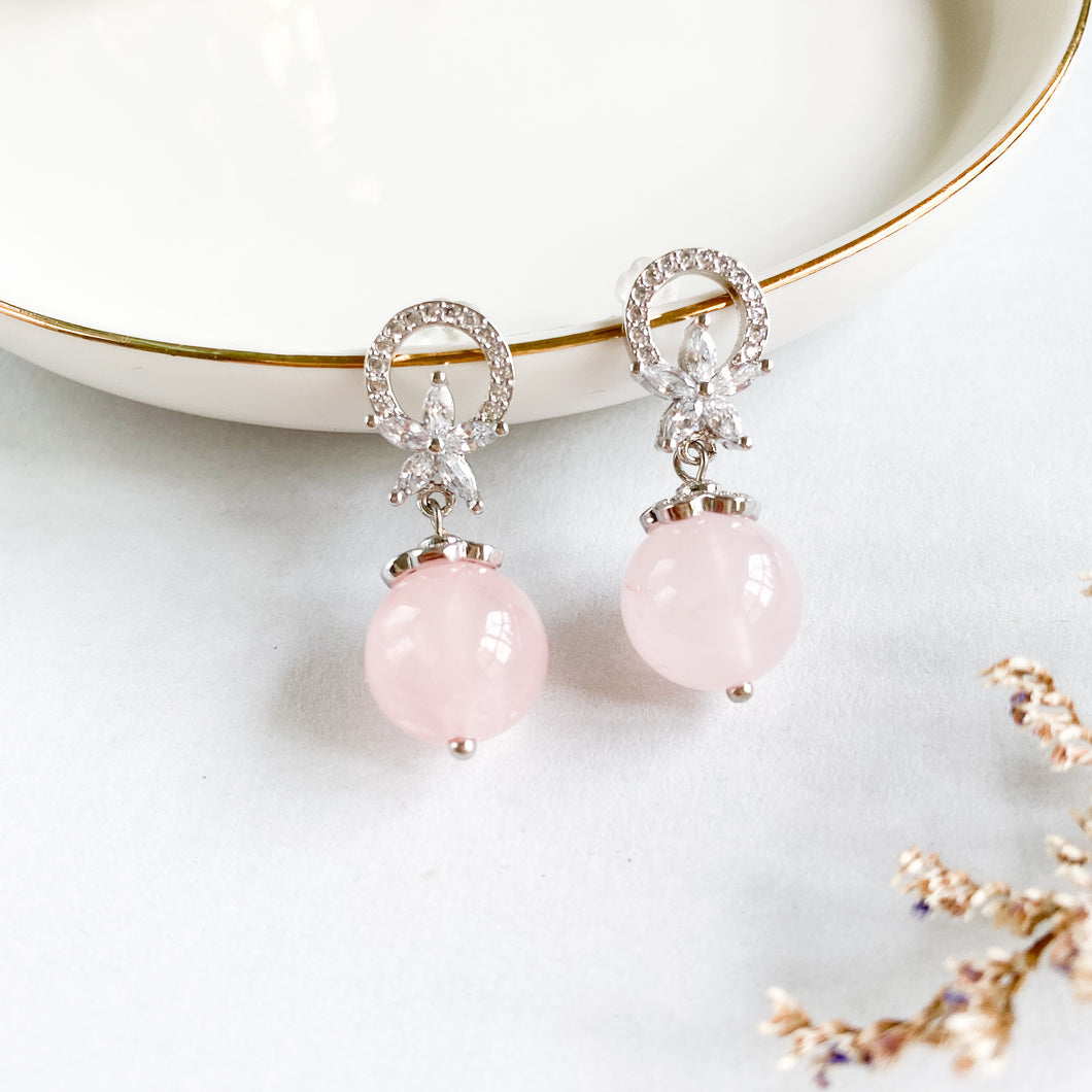 Rose Quartz Flora Earrings