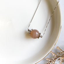 Load image into Gallery viewer, Peach Moonstone Solitaire Necklace