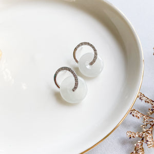 Grade A Icy White Jade Donut Studs - Silver