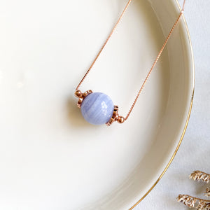 Blue Lace Agate Solitaire Necklace