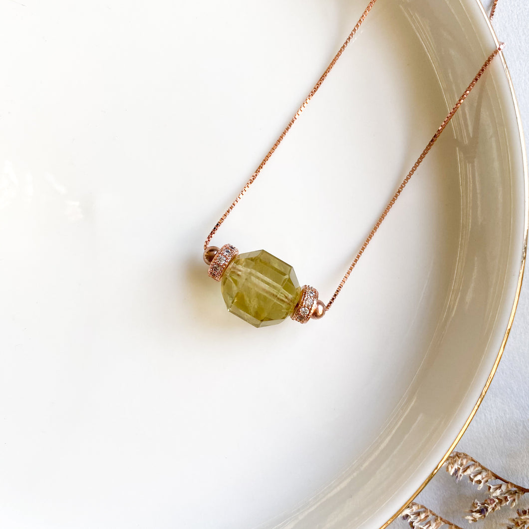 Lemon Citrine Geometric Necklace