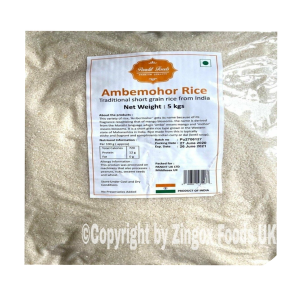 Ambemohar Rice 5kg - Zingox Foods UK