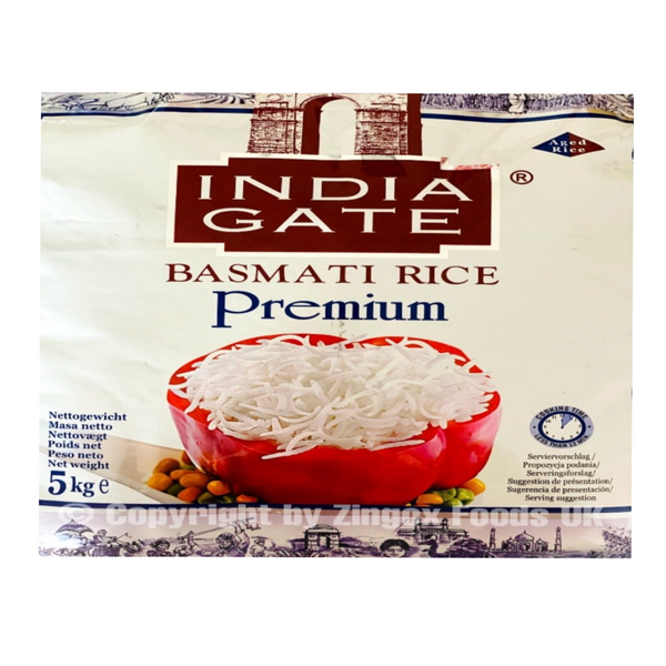 India Gate Basmati Rice 5kg - Zingox Foods UK