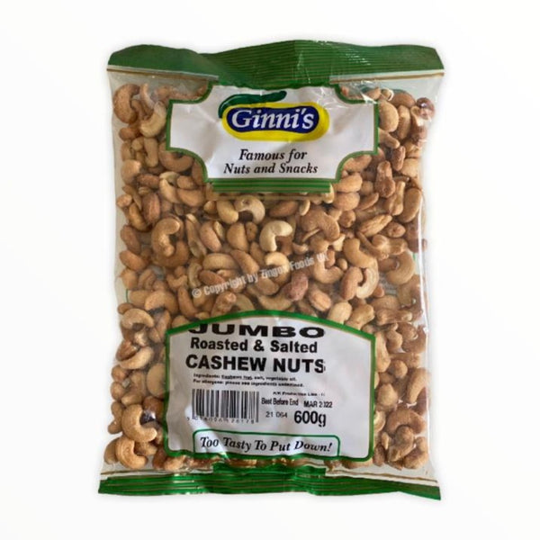 Ginni's Roasted and Salted Cashew Nuts 600g