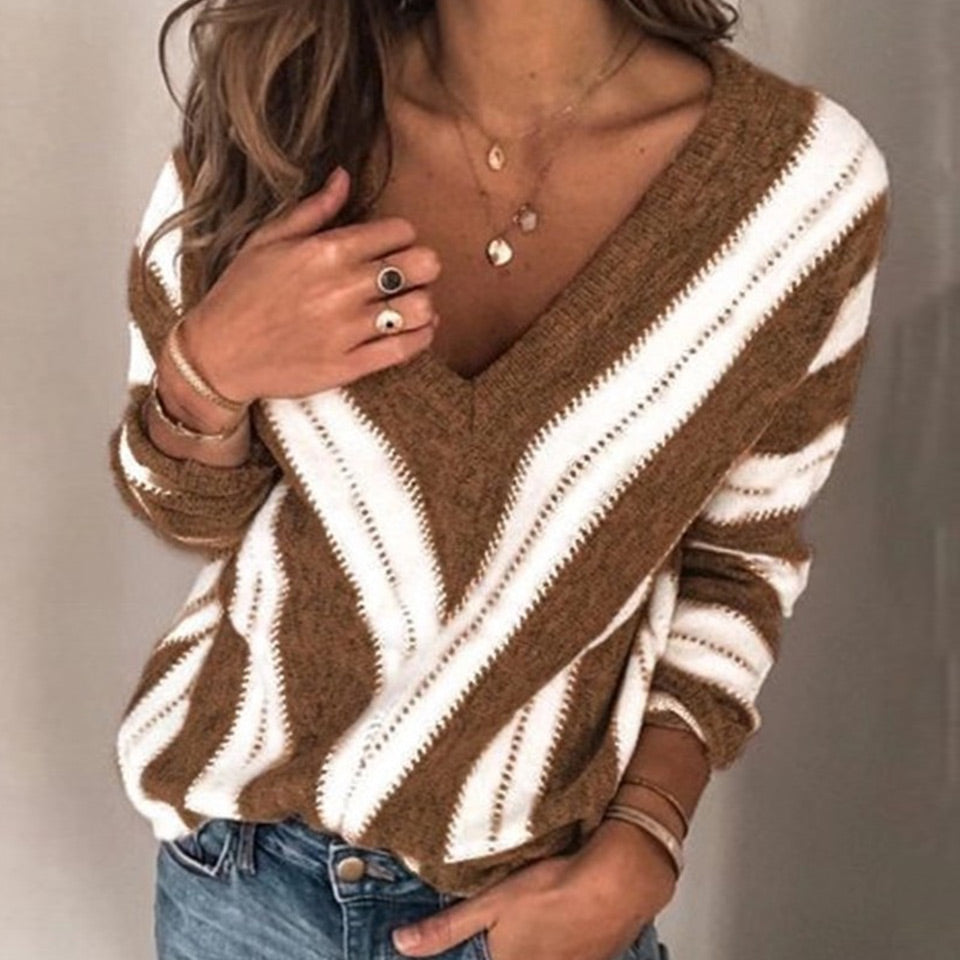 FLEUR WOOD Women Sweater Sexy V-Neck Spring Autumn Thin Sweater Pullover Casual Female Long Sleeve Top and Shirt Blusas De Mujer