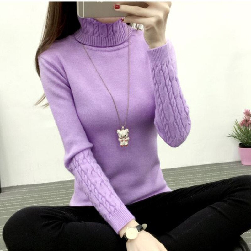 Women Turtleneck Pullover Sweater New Hot Women Autumn Winter Solid Basic Knitted Sweater Female Fashion Wild Knitwear Sweater