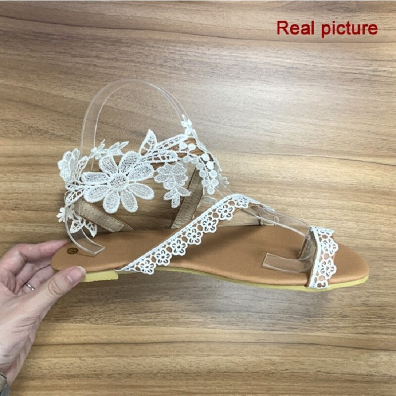 Summer Women Beach Flats Sandals Gladiator Sexy White Lace Wedding Sandals Roman Open Toe Ladies Shoes Big Size Flip Flops