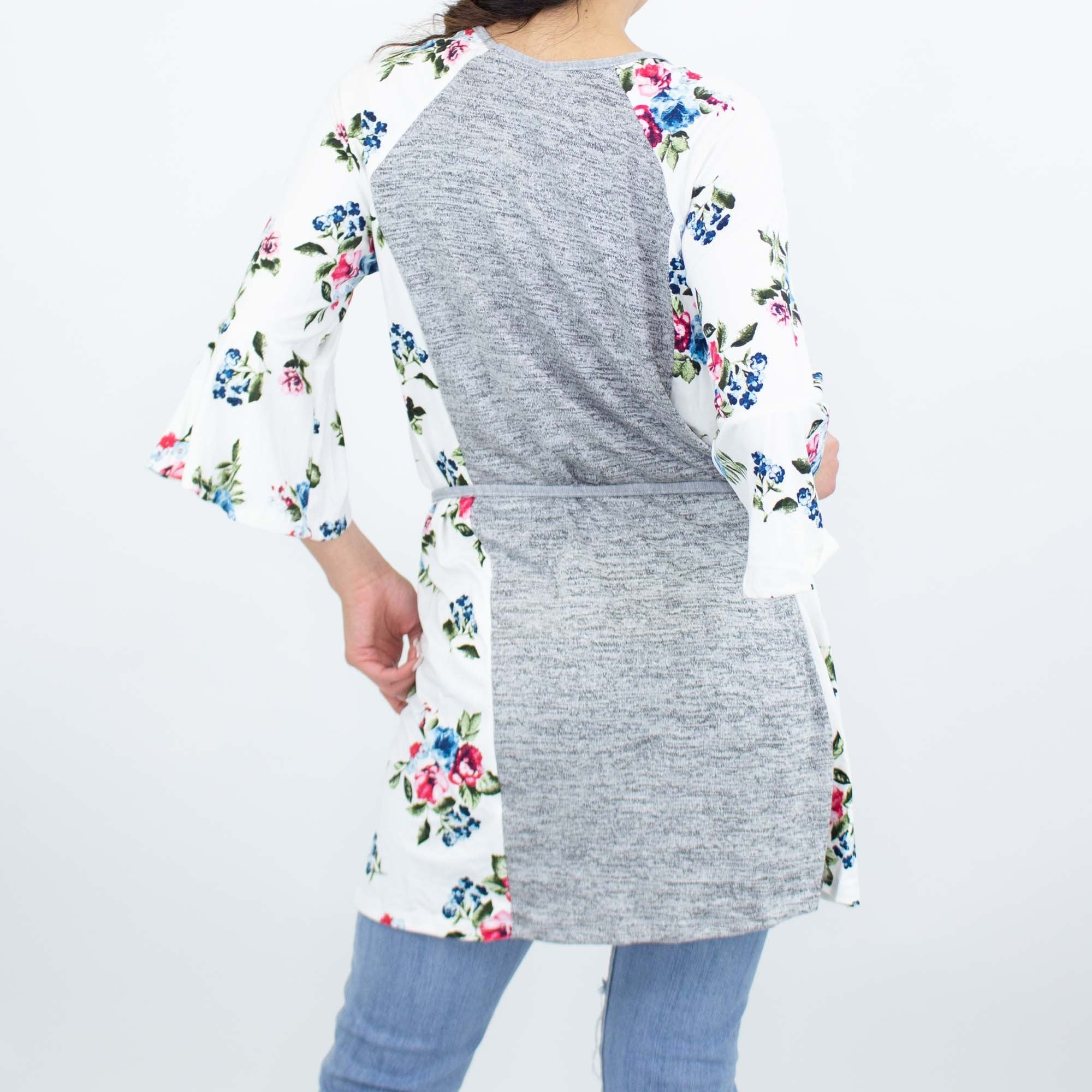Floral Bell Sleeve Tunic Top - Ivory