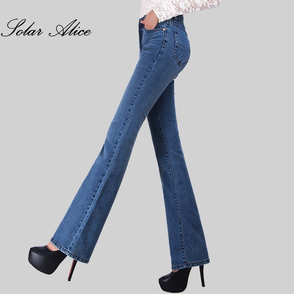 Free Shipping Promotion Women Autumn Bell Bottom Jeans Boot Cut Pants Office Lady Mid Waist Long Flares Trousers Plus Size 26-38