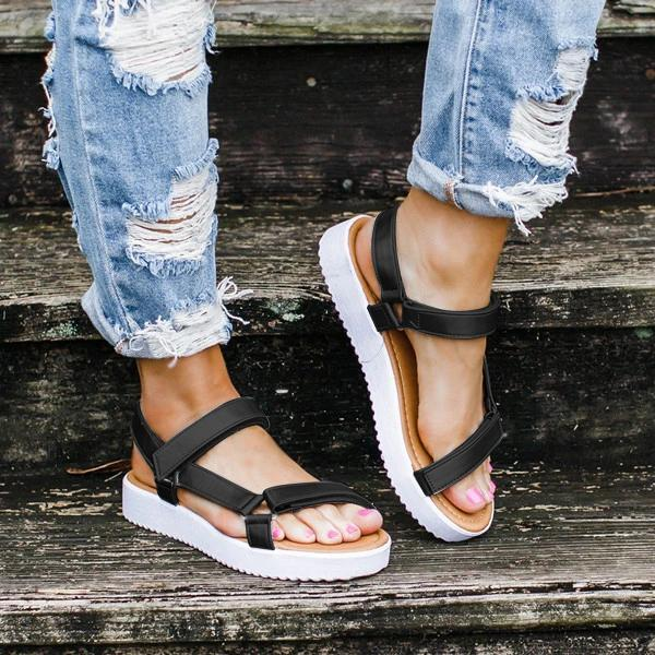 2020 Summer Sandals Women Flat Ladies Comfortable Ankle Hollow Round Toe Sandals Soft Sole Shoes Sandalias Shoes Ladies
