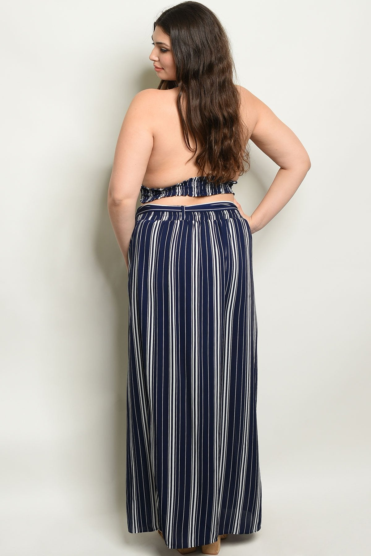Navy Stripes Plus Size Top & Pants Set
