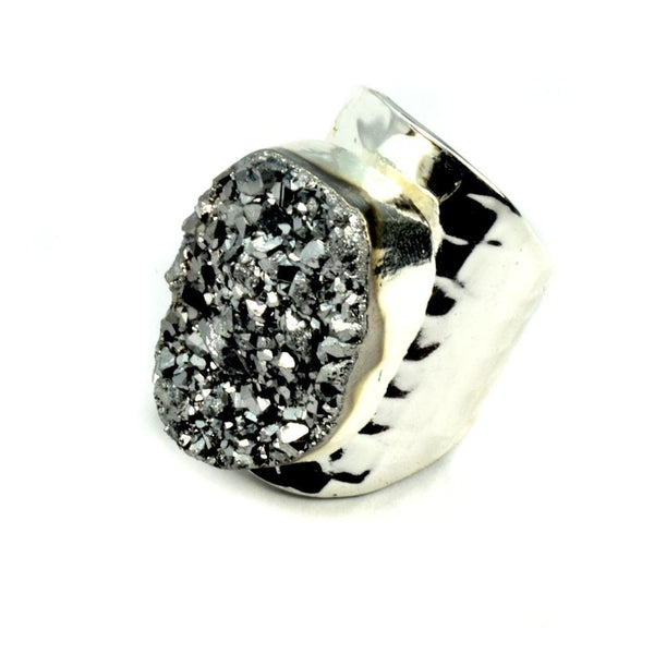 Amy Druzy Statement Ring in Silver-Christy Jean Boutique-This 2 That