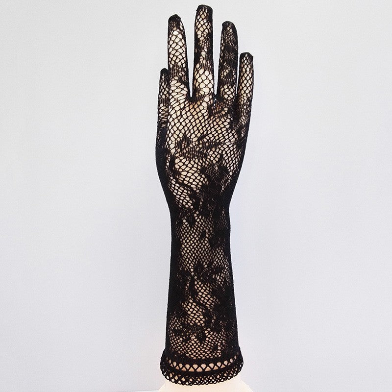 Transparent Lace Elastic Gloves Long-sleeve
