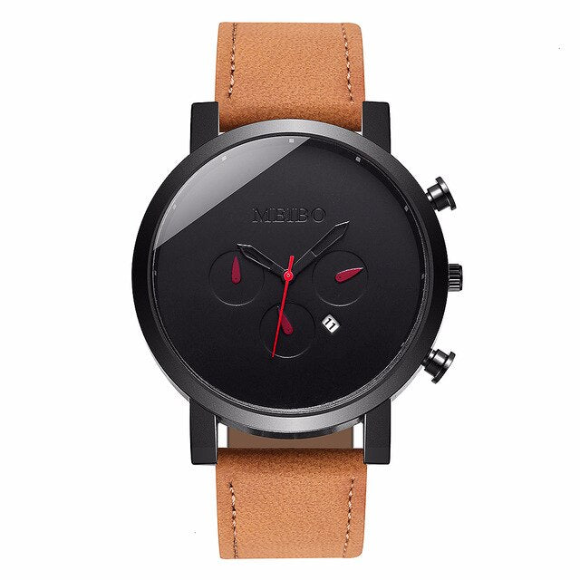 MEIBO Men Leather Military Watches Luxury Calendar Fashion Male Sport Clock Wristwatches Relogio Masculino