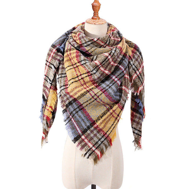 Women Scarf Plaid Winter Triangle Bandage