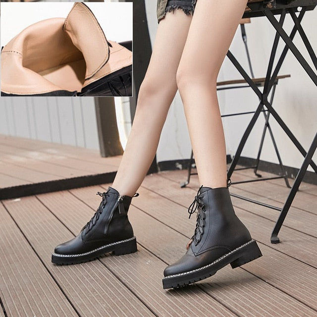 Martin Boots Genuine Leather Women Booties